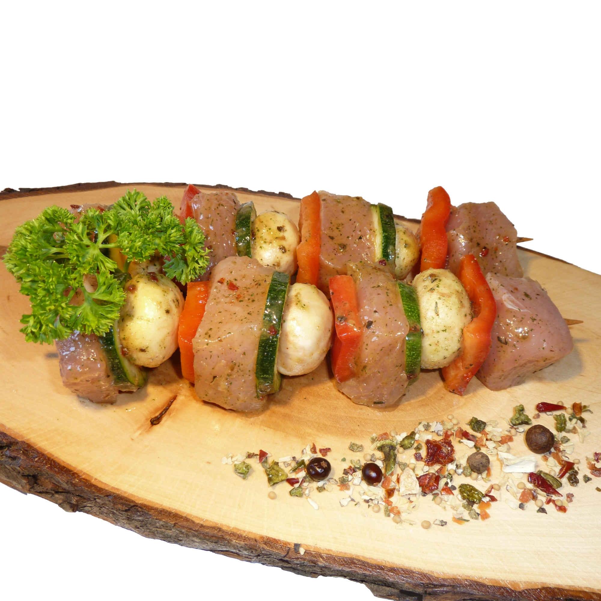 Pilz-Paprika-Zucchini-Spieße